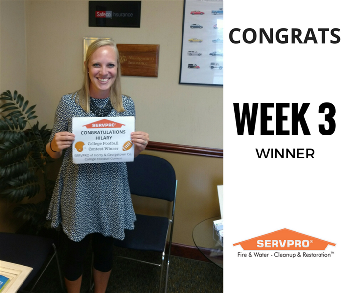 SERVPRO College Football Contest Winner Week 3