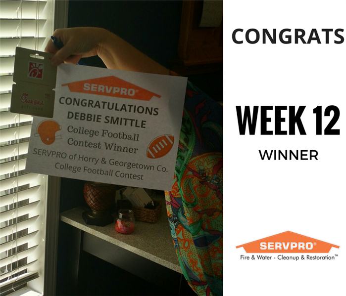 SERVPRO College Football Contest Winner Week 12